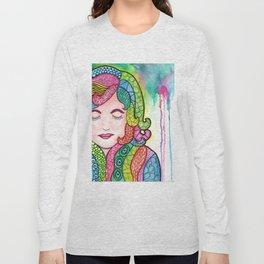 Watercolor Doodle Art   Groovy Girl Long Sleeve T-shirt