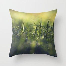 Moss; Polytrichum commune. In norwegian; Bjørnemose Throw Pillow