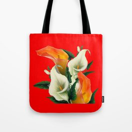 RED & WHITE-ORANGE CALLA LILIES GREY-GOLDEN GARDEN Tote Bag