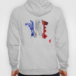 France Typographic World Map / France Typography Flag Map Art Hoody