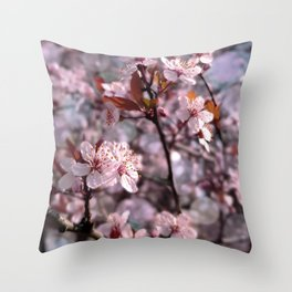 Cherry Plum Tree Pink Throw Pillow