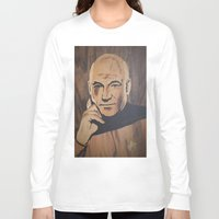 picard Long Sleeve T-shirts featuring Jean-Luc Picard (Patrick Stewart)  by Andulino