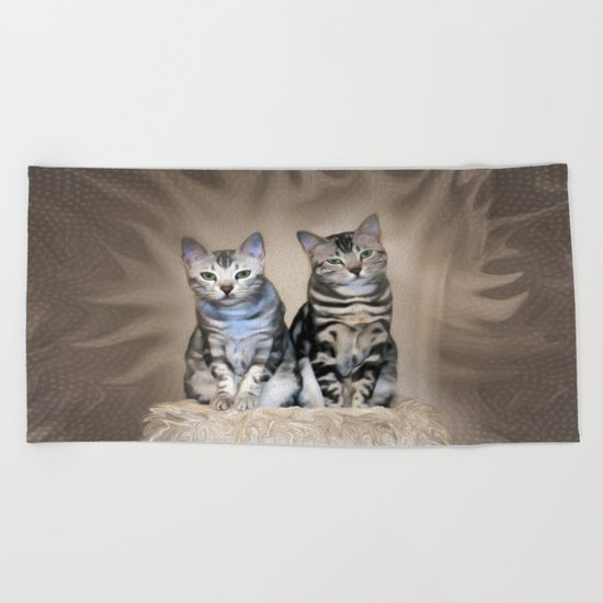The Glare of the Silver Meowbles  Beach Towel