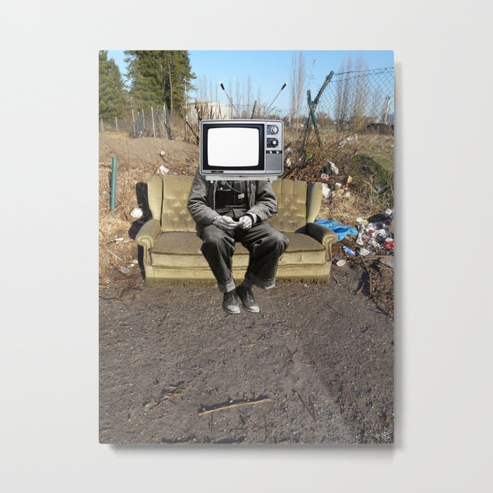 TV Zombie - sit down and watch! Metal Print