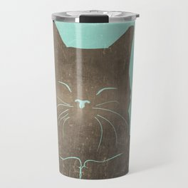 Happy cat illustration in blue and brown Travel Mug