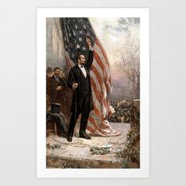 President Lincoln Giving A Speech Art Print