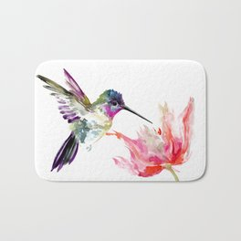 Little Hummingbird and Big Flower Bath Mat