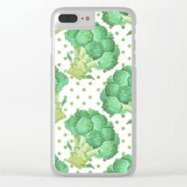Broccoli on Green dotted Background Clear iPhone Case