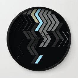 Deconstructed Chevron C – Gray / Gold / Blue Abstract Pattern Wall Clock