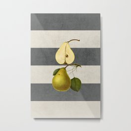 botanical stripes - pear Metal Print