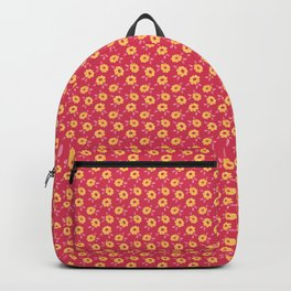 Autumn floral - yellow flowers on red Backpack
