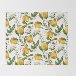 Citrus OrangeTree Branches with Flowers and Fruits Throw Blanket