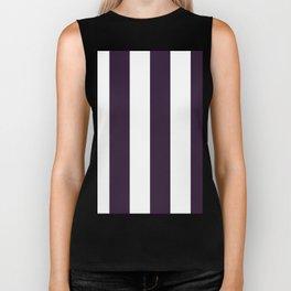 Wide Vertical Stripes - White and Dark Purple Biker Tank