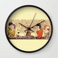 klimt Wall Clocks featuring Kokeshis Klimt by Pendientera
