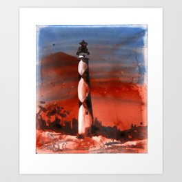 Fine art watercolor painting of Cape Lookout lighthouse Art Print
