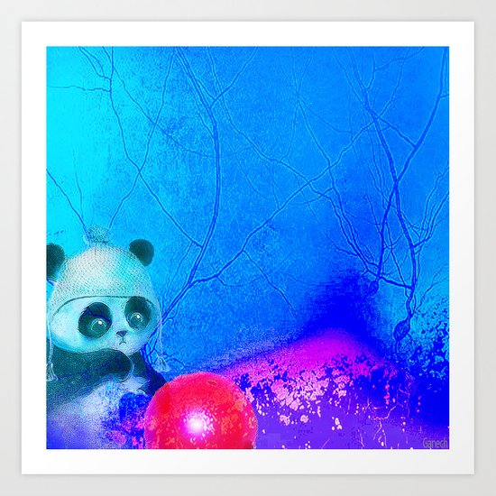 Baby panda plays with its balloon Art Print