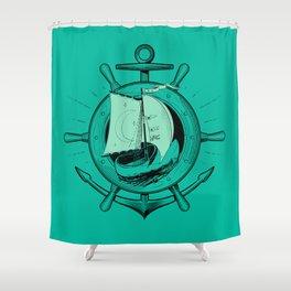 Anchor Wheel & Wooden Sailer Shower Curtain