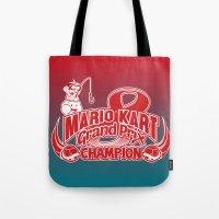 mario kart Tote Bags featuring Mario Kart 8 Champion by Kody Christian