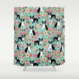 Floral Boston Terrier cute flowers spring bouquet love valentines day black and white mint dogs Shower Curtain