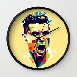 colorful illustration of ronaldo Wall Clock