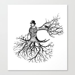 Black & White - Victorian Tatooed Tree Man Canvas Print