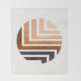 Raw Umber Circle Round Framed Mid Century Modern Aztec Geometric Pattern Maze Throw Blanket
