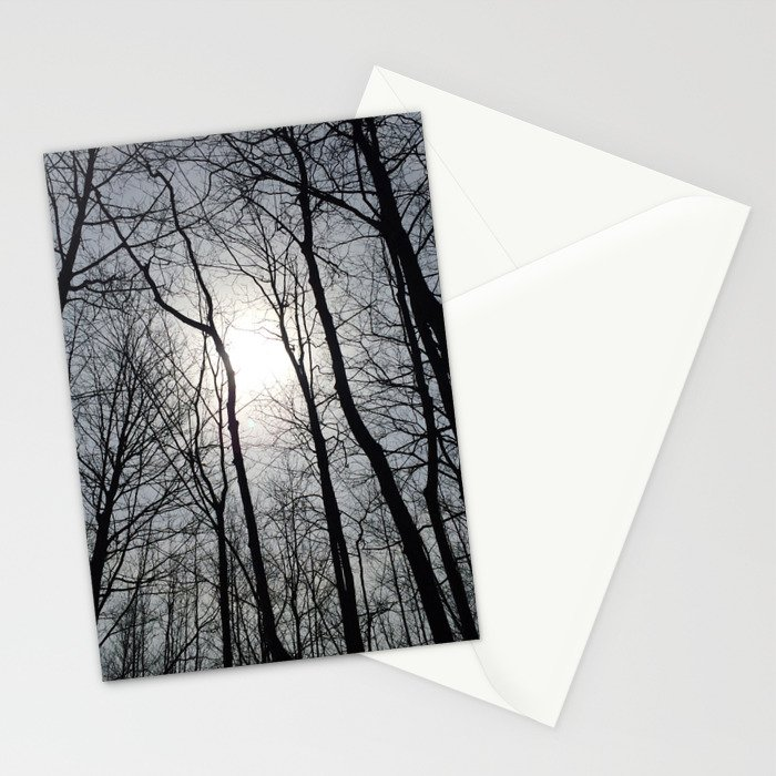 White Sky, Black Trees Stationery Cards