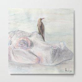 """Watercolor Painting of Picture """"Hippopotamus"""" Metal Print"""