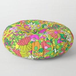 60's Groovy Garden in Lime Green Floor Pillow