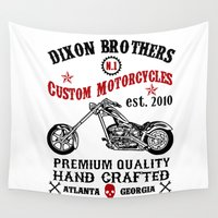 daryl dixon Wall Tapestries featuring Dixon Brothers Custom Motorcycles v2 by Buby87