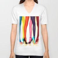 legs V-neck T-shirts featuring Legs by Wanker & Wanker