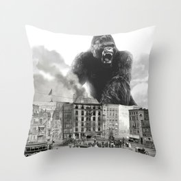 King Kong and the 1904 Fire Department Throw Pillow