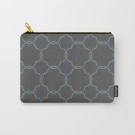 Moroccan Quatrefoil Clover Grey Carry-All Pouch