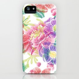 Colorful lowers Collage Pattern iPhone Case