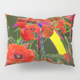 MODERN  ORIENTAL STYLE FLOWERS GREEN GARDEN DESIGN Pillow Sham