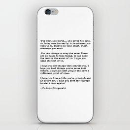 F Scott Fitzgerald quote iPhone Skin