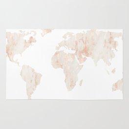 Marble World Map Light Pink Rose Gold Shimmer Rug