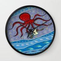bass Wall Clocks featuring squid bass by Huiskat