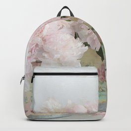 Shabby Chic Dreamy Pastel Peonies Floral Home Decor Backpack