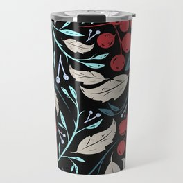 Holiday Holly and Mistletoe Pattern Travel Mug