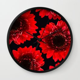 Red Flowers On A Black Background #decor #buyart #society6 Wall Clock