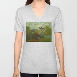 Claude Monet Impressionist Landscape Oil Painting A Corner of the Garden with Dahliass Unisex V-Neck