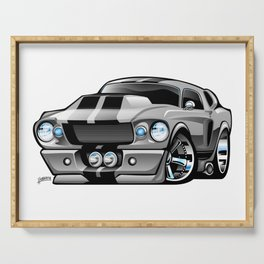 Classic Sixties American Muscle Car Cartoon Serving Tray