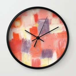 City Sunset Geometric Abstract Painting Wall Clock