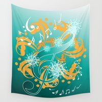 music notes Wall Tapestries featuring Music Notes  by HK Chik
