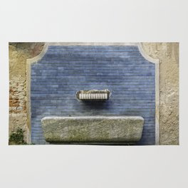 Blue water fountain in the center of Milan Rug