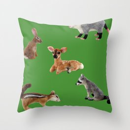 Backyard Critters in Green Throw Pillow