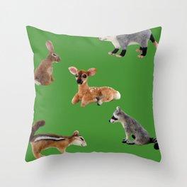 Backyard Critters in Green Throw Pillow