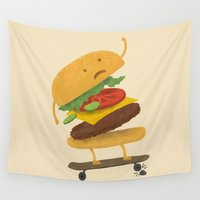 skateboard Wall Tapestries featuring Burger Wipe-out by Terry Fan