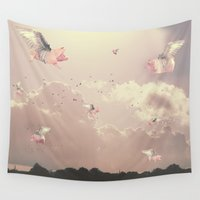 pigs Wall Tapestries featuring Flying Pigs by Raven haylin